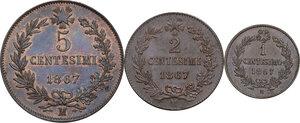reverse: Vittorio Emanuele II  (1861-1878).. Lotto di tre (3) monete da 5 centesimi, 2 centesimi  e centesimo 1867 Milano
