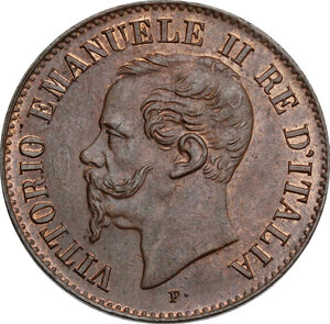 obverse: Vittorio Emanuele II  (1861-1878).. 2 centesimi 1861 Milano