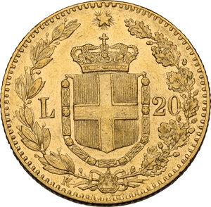 reverse: Umberto I (1878-1900).. 20 lire 1879