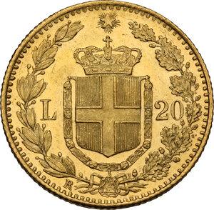 reverse: Umberto I (1878-1900). 20 lire 1882