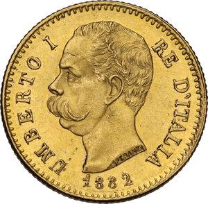 obverse: Umberto I (1878-1900). 20 lire 1882 oro rosso