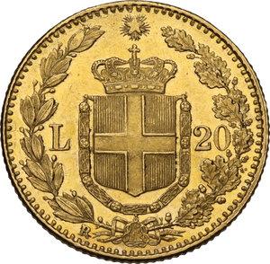 reverse: Umberto I (1878-1900). 20 lire 1882 oro rosso