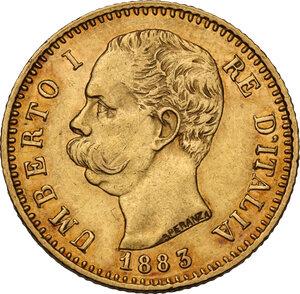 obverse: Umberto I (1878-1900).. 20 lire 1883 oro rosso