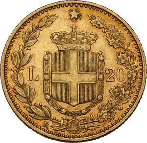 reverse: Umberto I (1878-1900).. 20 lire 1883 oro rosso