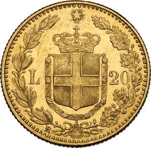 reverse: Umberto I (1878-1900).. 20 lire 1884