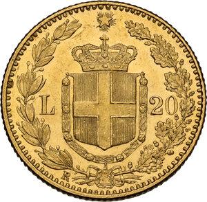 reverse: Umberto I (1878-1900).. 20 lire 1886