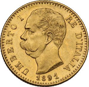obverse: Umberto I (1878-1900). 20 lire 1891