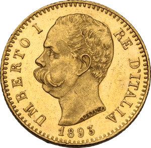 obverse: Umberto I (1878-1900).. 20 lire 1893
