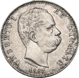 obverse: Umberto I (1878-1900). Lira 1887 Milano