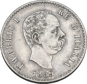 obverse: Umberto I (1878-1900). 50 centesimi 1889