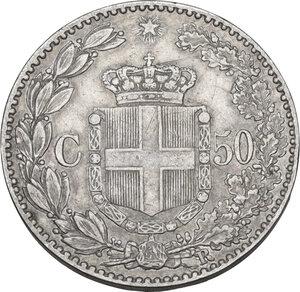 reverse: Umberto I (1878-1900). 50 centesimi 1889
