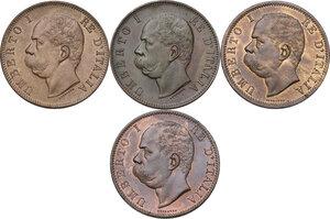 obverse: Umberto I (1878-1900).. Lotto di quattro (4) monete. Serie completa dei da 10 centesimi 1893 e 1894 Birmingham e Roma