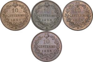 reverse: Umberto I (1878-1900).. Lotto di quattro (4) monete. Serie completa dei da 10 centesimi 1893 e 1894 Birmingham e Roma