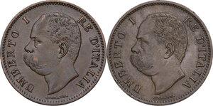 obverse: Umberto I (1878-1900).. Lotto di due (2) monete da 5 centesimi 1895 e 1896