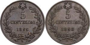 reverse: Umberto I (1878-1900).. Lotto di due (2) monete da 5 centesimi 1895 e 1896