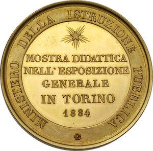 reverse: Umberto I (1878-1900).. Medaglia 1884 del Ministero dell Istruzione Pubblica per la Mostra didattica nell Esposizione Generale di Torino