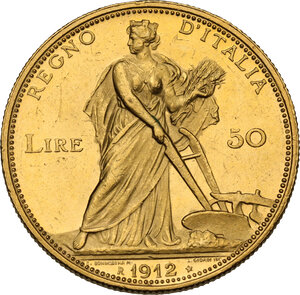 reverse: Vittorio Emanuele III (1900-1943). 50 lire 1912
