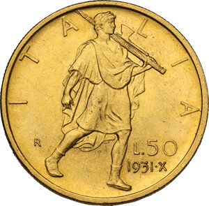 reverse: Vittorio Emanuele III (1900-1943). 50 lire 1931 A. X