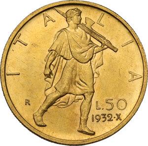 reverse: Vittorio Emanuele III (1900-1943). 50 lire 1932 A. X