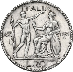 reverse: Vittorio Emanuele III (1900-1943).. 20 Lire A. VI, 1928