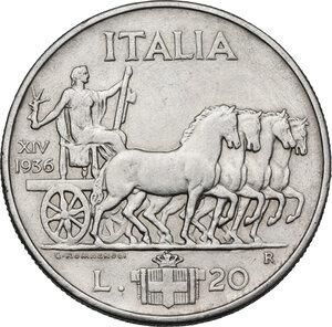reverse: Vittorio Emanuele III (1900-1946).. 20 Lire 1936, A. XIV
