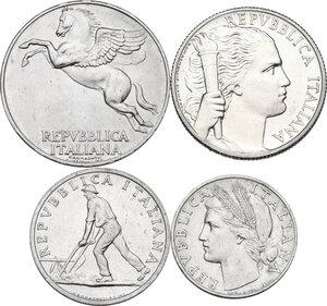 Serie di quattro (4) valori 1946: 10 lire, 5 lire, 2 lire e lira