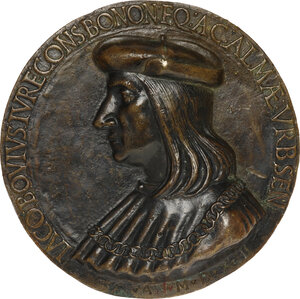 obverse: Giacomo Bovi (1455-1522), giureconsulto, senatore e Gonfaloniere del popolo di Bologna. Medaglia uniface 1513. AE. mm