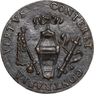 reverse: Andrea Carafa (1496-1526), Conte di Santa Severina.. Medaglia s.d. (inizi del XVI sec.)