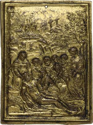 obverse: Compianto sul Cristo morto. Placchetta, secondo quarto del XVI sec. Ambito emiliano (o lombardo)