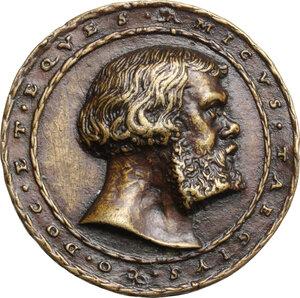 obverse: Amico Taegio (XVI sec.), ambasciatore e giurista milanese. Medaglia 1529, di ambito germanico