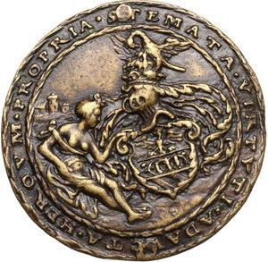 reverse: Amico Taegio (XVI sec.), ambasciatore e giurista milanese. Medaglia 1529, di ambito germanico