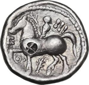 reverse: Celtic, Eastern Europe. AR Tetradrachm 3rd century, imitatating of Philip II of Macedon, 3rd century BC