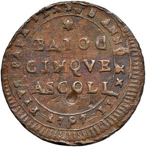 obverse: Ascoli. Pio VI (1775-1799). Madonnina da 5 baiocchi 1797 anno XXIII AE gr. 15,60. Muntoni 151. Mazza pag. 87. Berman 3007. Molto rara. q.BB