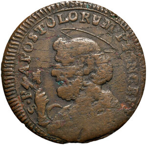 reverse: Ascoli. Pio VI (1775-1799). Sampietrino da 2 baiocchi e mezzo 1797 AE gr. 10,33. Muntoni 155. Mazza pag. 89. Berman 3008. Molto raro. MB