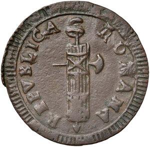obverse: Ascoli. Repubblica Romana (1798-1799). Da 2 baiocchi AE gr. 14,56. Pagani 16. Muntoni 33. Mazza pag. 94-95. Bruni 7. Rara. BB