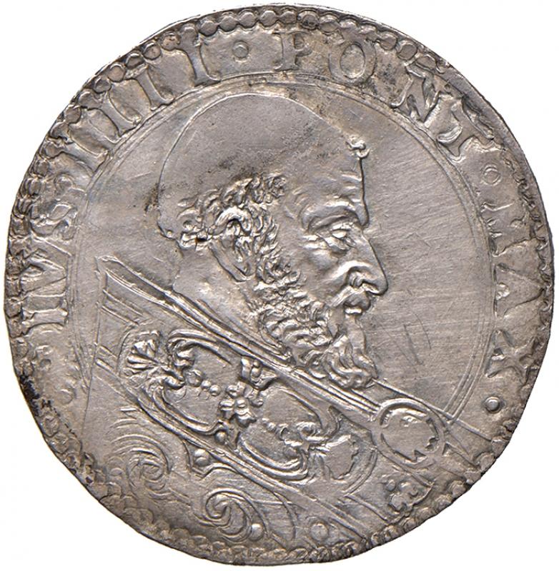 obverse: Bologna. Pio IV (1559-1565). Bianco AG gr. 4,82. Muntoni 70. Berman 1076. Chimienti 354. MIR 1070/1. Raro. Magnifico ritratto ed esemplare in stato  di conservazione eccezionale, FDC
