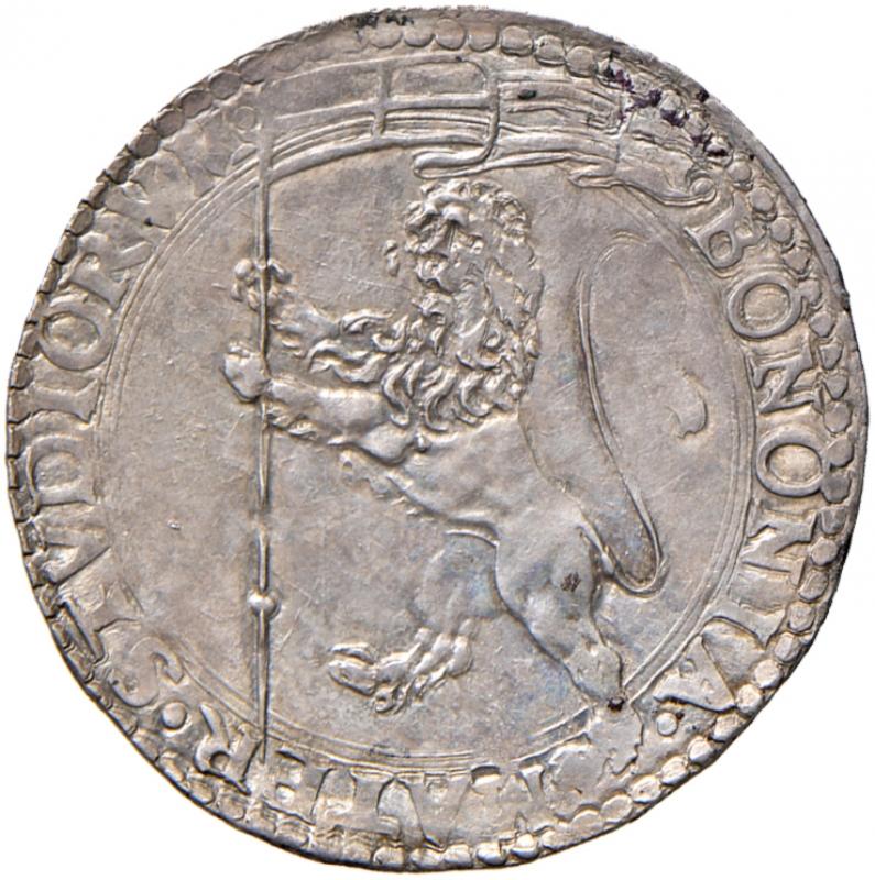 reverse: Bologna. Pio IV (1559-1565). Bianco AG gr. 4,82. Muntoni 70. Berman 1076. Chimienti 354. MIR 1070/1. Raro. Magnifico ritratto ed esemplare in stato  di conservazione eccezionale, FDC