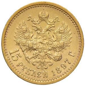Russia. Nicola II (1894-1917). Da 15 rubli 1897 (San Pietroburgo) AV gr. 12,90. Friedberg 177.  Conservazione insolita, migliore di SPL 700