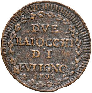 reverse: Foligno. Pio VI (1775-1799). Da 2 baiocchi 1795 anno XXI CU gr. 19,56. Muntoni 334. Berman 3101. Molto rara. BB