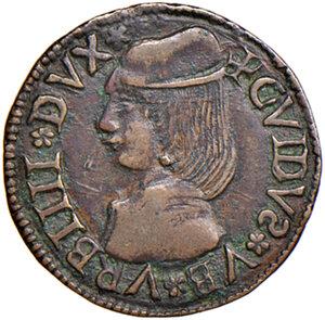 obverse: Fossombrone. Guidobaldo I di Montefeltro (1482-1508). Quattrino AE gr. 1,44. Ravegnani Morosini 13. Cavicchi 18. Molto raro. Finissimo ritratto rinascimentale, migliore di BB