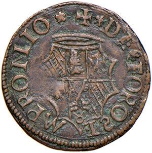 reverse: Fossombrone. Guidobaldo I di Montefeltro (1482-1508). Quattrino AE gr. 1,44. Ravegnani Morosini 13. Cavicchi 18. Molto raro. Finissimo ritratto rinascimentale, migliore di BB