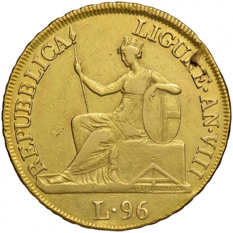 obverse: Genova. Repubblica Ligure (1798-1805). Da 96 lire anno VIII/1805 AV. Pagani 5. Lunardi 371. MIR 375/5. Molto rara. Soffiatura marginale del tondello, altrimenti BB