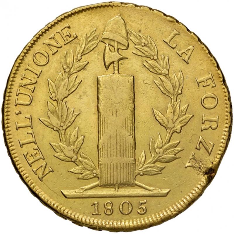 reverse: Genova. Repubblica Ligure (1798-1805). Da 96 lire anno VIII/1805 AV. Pagani 5. Lunardi 371. MIR 375/5. Molto rara. Soffiatura marginale del tondello, altrimenti BB