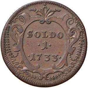 reverse: Gorizia. Carlo VI d'Asburgo imperatore del S.R.I. (1711-1740). Soldo 1733 CU gr. 5,25. CNI 1. Conservazione insolita, SPL