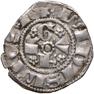 obverse: Guardiagrele. Ladislao di Durazzo (1391-1414). Bolognino AG gr. 0,90. D.A. 3. MIR 460. Raro. BB
