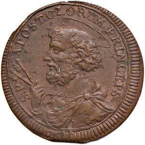 reverse: Gubbio. Pio VI (1775-1799). Sampietrino da 2 baiocchi e mezzo 1796 CU gr. 14,26. Muntoni 352. Berman 3107. Iridescenze rosse, SPL