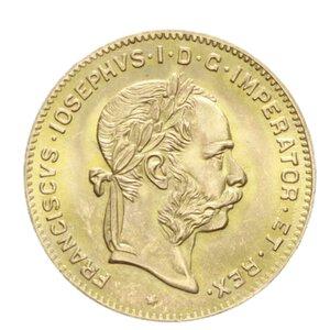 obverse: AUSTRIA FRANCESCO GIUSEPPE I 4 FLORIN 10 FRANCS 1892 AU 3,21 GR. FDC
