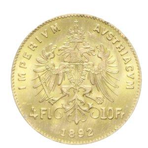 reverse: AUSTRIA FRANCESCO GIUSEPPE I 4 FLORIN 10 FRANCS 1892 AU 3,21 GR. FDC