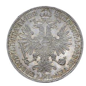 reverse: AUSTRIA FRANCESCO GIUSEPPE FIORINO 1861 A AG. 12,33 GR. FDC