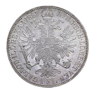 reverse: AUSTRIA FRANCESCO GIUSEPPE FIORINO 1861 A AG. 12,31 GR. qFDC